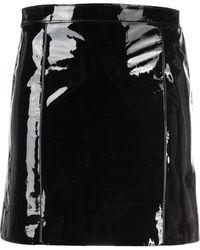 Manokhi エナメルレザースカート - ブラック