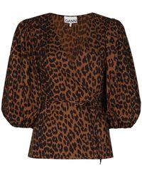 Ganni - Блузка С Запахом И Леопардовым Принтом - Lyst