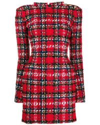 Balmain Tartan tweed mini dress - Rojo