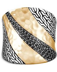 John Hardy Кольцо Classic Chain Из Желтого Золота И Серебра - Черный