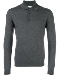 Fashion Clinic Long Sleeved Knitted Polo Shirt - Grey