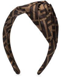 Fendi Ff Logo Jacquard Headband - Brown