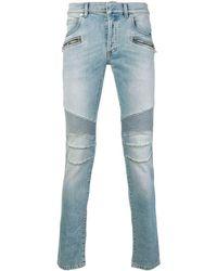Balmain Jeans skinny biker - Blu
