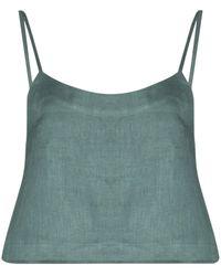 Bondi Born Cropped Linen Camisole - Green