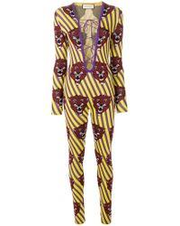 Gucci - Tiger Face Jumpsuit - Lyst
