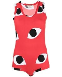 Comme des Garçons Eyes-print Sleeveless Bodysuit - Red