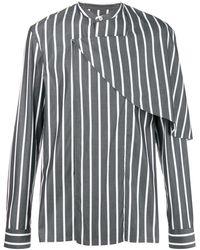 Chalayan Camisa a rayas con media capa - Gris