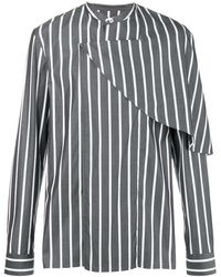 Chalayan Half Cape Striped Shirt - Grey