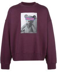 Palm Angels Graphic-print Stretch-cotton Jersey Sweatshirt - Purple