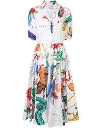 Stella Jean Mittellanges Hemdkleid mit Print - Weiß