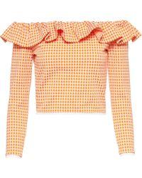 Miu Miu Gingham Ruffle Off-shoulder Top - Orange