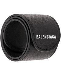 Balenciaga Pulsera con logo estampado - Negro