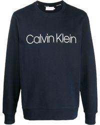 Calvin Klein Sweatshirt mit Logo-Print - Blau
