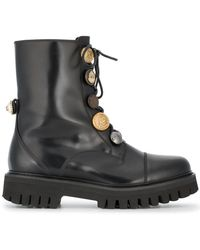 Dolce & Gabbana - Biker Boots With Button Embellishment - Lyst