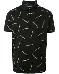Emporio Armani Logo Print Polo Shirt - Black