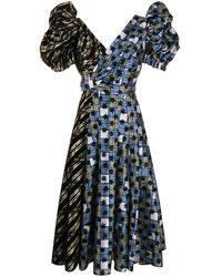 Chopova Lowena パフスリーブ ドレス - ブルー