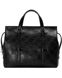 Gucci Bolso shopper con logo - Negro