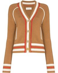 Wales Bonner Artist Stripe-trim Wool-cashmere Cardigan - Brown