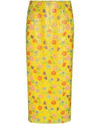 BERNADETTE Sequinned Floral-print Midi Skirt - Yellow