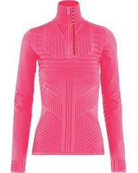 Prada Linea Rossa Technical Jacquard-knit Top - Pink