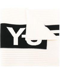 Y-3 バイカラーロゴプリント スカーフ - ブラック