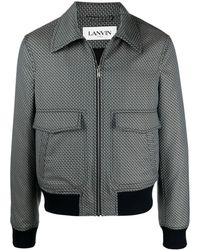 Lanvin ジオメトリックパターン ボンバージャケット - ブルー
