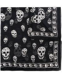 Alexander McQueen Foulard à motif tête de mort - Noir