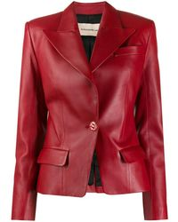 Alexandre Vauthier - Single Breasted Leather Blazer - Lyst