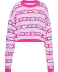 Miu Miu オールオーバーロゴ プルオーバー - ピンク