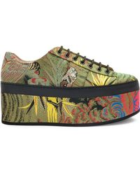 Gucci - Tiger Jacquard Platform Shoes - Lyst