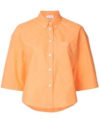 Calvin Klein - Poplin Cropped Sleeve Button Down Shirt - Lyst