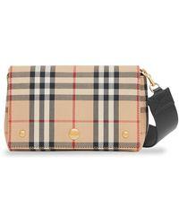 Burberry Kleine Crossbody-Tasche aus Vintage Check-Gewebe und Leder - Mehrfarbig