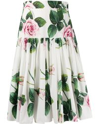 Dolce & Gabbana Floral Pleated Skirt - White