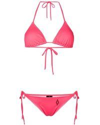 Marcelo Burlon Tie Fastened Bikini Set - Pink