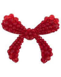 Simone Rocha - Red Crystal Embellished Velvet Bow Brooch - Lyst