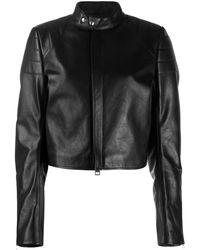 Bottega Veneta クロップド レザージャケット - ブラック