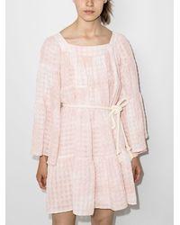 Lisa Marie Fernandez Платье Мини С Длинными Рукавами И Завязками - Розовый
