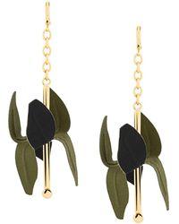 Marni Pendientes con motivo floral - Negro