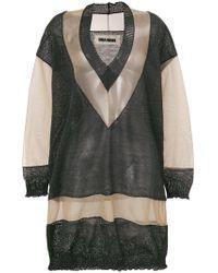 Uma Wang - Sheer Panelled Knitted Jumper - Lyst