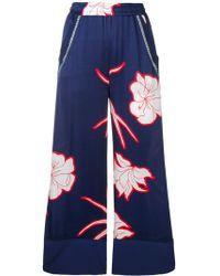 Pinko - Flower Print Flare Trousers - Lyst