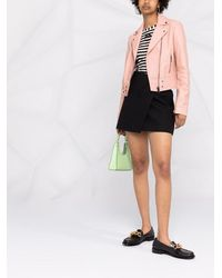 Pinko クロップド レザージャケット - ピンク