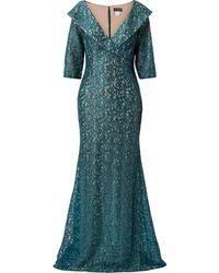 Jovani Lace-wrap Gown - Green