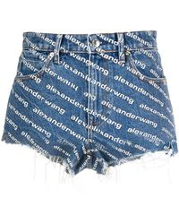 Alexander Wang Monogram Denim Shorts - Blue