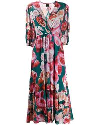 Pinko Floral Print Tiered Dress - Green