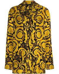 Versace バロックプリント パジャマシャツ - ブラック