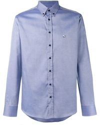 Etro Chest logo embroidered shirt - Blu