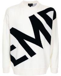 Emporio Armani Intarsien-Pullover mit Logo - Weiß