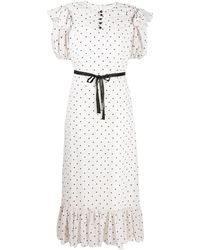 Parlor ハートプリント シフトドレス - ホワイト