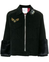 Isabelle Blanche Appliqué Fitted Jacket - Black
