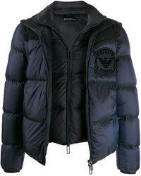 Emporio Armani Layered Down Jacket - Blue